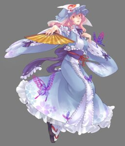 Rating: Safe Score: 13 Tags: japanese_clothes nakatani saigyouji_yuyuko touhou transparent_png User: Nekotsúh