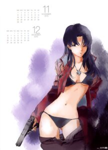 Rating: Questionable Score: 55 Tags: bikini calendar cleavage gun honda_takeshi katsuragi_misato neon_genesis_evangelion open_shirt swimsuits User: drop