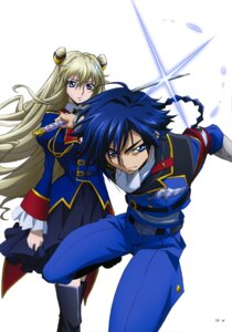 Rating: Safe Score: 9 Tags: akito_the_exiled code_geass hyuuga_akito layla_markale sword thighhighs uniform User: drop