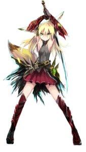 Rating: Safe Score: 78 Tags: animal_ears haik kitsune kokonoe_tsubaki sword tail thighhighs User: zero|fade