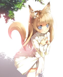 Rating: Safe Score: 81 Tags: animal_ears kitsune nekomu tail thighhighs User: Nekotsúh