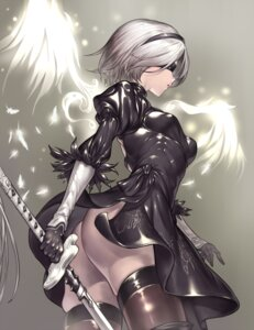 Rating: Questionable Score: 41 Tags: ass dress nier_automata sword tangamjas thighhighs wings yorha_no.2_type_b User: mash