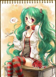 Rating: Safe Score: 9 Tags: hatsune_miku headphones lilith_bloody megane thighhighs vocaloid User: Nekotsúh