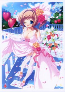 Rating: Questionable Score: 63 Tags: cleavage dress mikeou pink_chuchu thighhighs wedding_dress User: fireattack