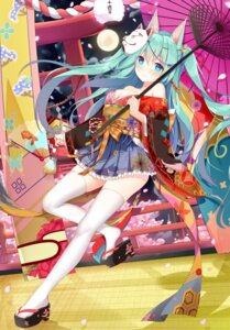Rating: Safe Score: 63 Tags: animal_ears cleavage hatsune_miku japanese_clothes jyt thighhighs umbrella vocaloid User: Mr_GT