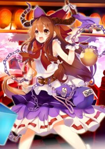 Rating: Safe Score: 30 Tags: dress horns ibuki_suika kagura_kurosaki touhou User: charunetra