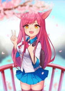 Rating: Safe Score: 34 Tags: ahri animal_ears cleavage dk2 league_of_legends seifuku thighhighs User: charunetra