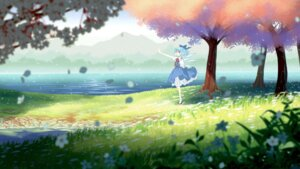 Rating: Safe Score: 17 Tags: cirno fairy jiege landscape skirt_lift touhou wings User: Arystulaim