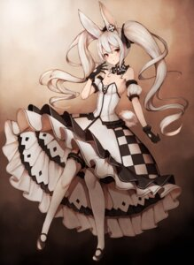 Rating: Safe Score: 61 Tags: animal_ears bunny_ears cleavage dress inaba_sunimi stockings tail thighhighs User: Mr_GT