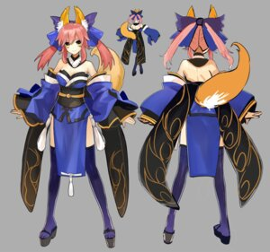 Rating: Safe Score: 35 Tags: animal_ears caster_(fate/extra) character_design cleavage fate/extra fate/stay_night japanese_clothes kitsune no_bra tail thighhighs wada_rco User: Yokaiou