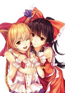Rating: Safe Score: 43 Tags: hakurei_reimu ibuki_suika kirino_(codec007) miko touhou User: blooregardo