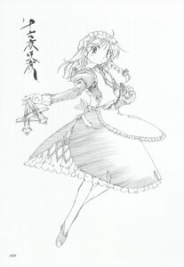 Rating: Safe Score: 1 Tags: dress izayoi_sakuya maid monochrome sword touhou tsukuri_monoji User: noirblack