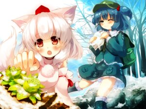 Rating: Safe Score: 22 Tags: animal_ears gen-getsu inubashiri_momiji kawashiro_nitori tail touhou User: Mr_GT