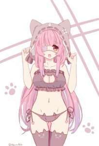 Rating: Questionable Score: 50 Tags: achirimotedo animal_ears cleavage eyepatch lingerie nekomimi pantsu string_panties thighhighs User: Steythx