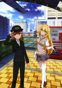 Rating: Safe Score: 19 Tags: misaka_mikoto police_uniform seifuku shokuhou_misaki sweater thighhighs to_aru_kagaku_no_railgun to_aru_majutsu_no_index User: drop