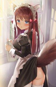 Rating: Questionable Score: 34 Tags: animal_ears ass maid nopan skirt_lift tail thighhighs tsukasa wardrobe_malfunction User: Arsy