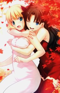 Rating: Safe Score: 86 Tags: dress fate/stay_night saber takeuchi_takashi thighhighs toosaka_rin type-moon User: 椎名深夏