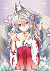 Rating: Safe Score: 45 Tags: animal_ears cleavage kaniya_shiku miko open_shirt tail User: Mr_GT