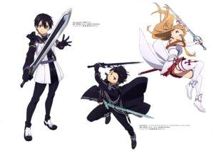 Rating: Safe Score: 21 Tags: armor asuna_(sword_art_online) chikaoka_sunao kirito sword sword_art_online thighhighs yokota_masafumi User: drop