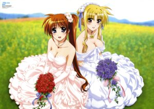 Rating: Safe Score: 58 Tags: cleavage dress fate_testarossa mahou_shoujo_lyrical_nanoha mahou_shoujo_lyrical_nanoha_strikers okuda_yasuhiro takamachi_nanoha wedding_dress User: SubaruSumeragi