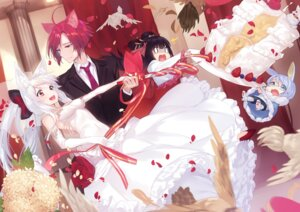 Rating: Safe Score: 28 Tags: animal_ears chibi dress megane sword wedding_dress yaguo User: Mr_GT