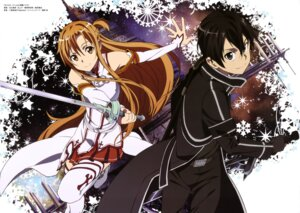 Rating: Safe Score: 29 Tags: adachi_shingo armor asuna_(sword_art_online) kirito sword sword_art_online thighhighs User: drop