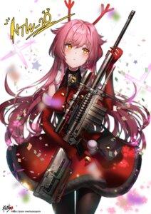 Rating: Safe Score: 35 Tags: christmas dress girls_frontline gun horns kyjsogom ntw-20_(girls_frontline) pantyhose User: charunetra