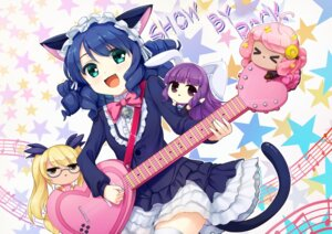 Rating: Safe Score: 32 Tags: animal_ears bunny_ears chibi chuchu_(show_by_rock!!) cyan_(show_by_rock!!) dress guitar megane nekomimi pinkarage retoree_(show_by_rock!!) show_by_rock!! tail thighhighs User: Mr_GT