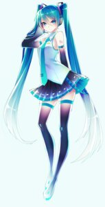 Rating: Safe Score: 40 Tags: 1055 hatsune_miku headphones tattoo thighhighs vocaloid User: charunetra