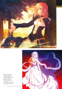 Rating: Safe Score: 13 Tags: dress fate/stay_night irisviel_von_einzbern saber sword takeuchi_takashi type-moon User: fireattack