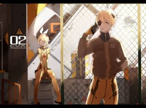 Rating: Safe Score: 19 Tags: bodysuit cosplay eyepatch kagamine_len kagamine_rin neon_genesis_evangelion nine vocaloid User: zero|fade