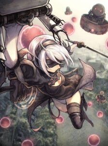 Rating: Safe Score: 19 Tags: cleavage dress heels mephist-pheles nier_automata pantsu sword thighhighs yorha_no.2_type_b User: charunetra