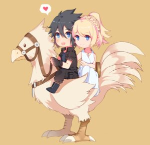 Rating: Safe Score: 19 Tags: chibi chocobo dress final_fantasy_xv lunafreya_nox_fleuret noctis_lucis_caelum yorukun User: mash