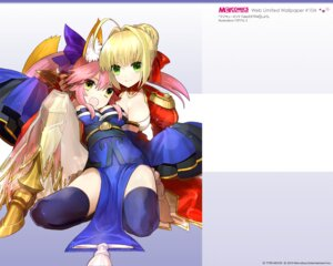 Rating: Safe Score: 39 Tags: animal_ears armor caster_(fate/extra) cleavage fate/extra fate/stay_night kitsune saber_extra thighhighs type-moon wada_rco wallpaper User: blooregardo