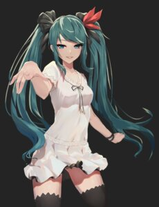 Rating: Safe Score: 75 Tags: dress hatsune_miku hentai_kuwa thighhighs vocaloid world_is_mine_(vocaloid) User: Spidey