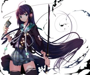 Rating: Safe Score: 119 Tags: headphones machimura_komori seifuku sword thighhighs torn_clothes User: DarkRoseofHell