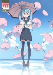 Rating: Safe Score: 55 Tags: hatsune_miku kanzaki_hiro megane seifuku tabgraphics thighhighs umbrella vocaloid User: fireattack