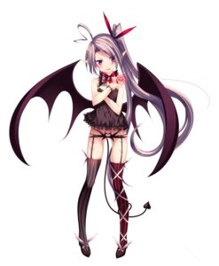 Rating: Questionable Score: 52 Tags: heels mizunoto_nozumi pantsu pointy_ears stockings tail thighhighs wings User: KazukiNanako