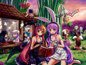 Rating: Safe Score: 40 Tags: animal_ears cleavage dress flandre_scarlet hong_meiling hoshi_no_gen houraisan_kaguya inaba_tewi izayoi_sakuya jpeg_artifacts koakuma patchouli_knowledge reisen_udongein_inaba remilia_scarlet touhou wallpaper wings yagokoro_eirin User: 椎名深夏