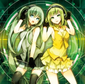 Rating: Safe Score: 32 Tags: gumi hatsune_miku headphones thighhighs vocaloid yuuki_kira User: 椎名深夏