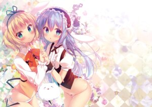 Rating: Questionable Score: 93 Tags: detexted fixed gochuumon_wa_usagi_desu_ka? hachimitsu_shoujo kafuu_chino kirima_sharo mitsumomo_mamu pantsu string_panties waitress User: DDD