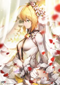 Rating: Safe Score: 63 Tags: cleavage fate/extra fate/extra_ccc fate/stay_night kyjsogom no_bra open_shirt saber_bride saber_extra User: Mr_GT
