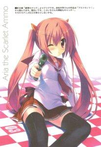 Rating: Safe Score: 40 Tags: gun hidan_no_aria kanzaki_h_aria kiba_satoshi paper_texture retro seifuku thighhighs User: blooregardo