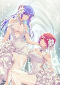 Rating: Questionable Score: 41 Tags: angel arknights dress exusiai_(arknights) jiusan_naitan no_bra see_through wedding_dress wings yuri User: Mr_GT