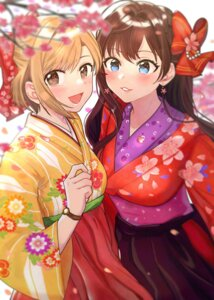 Rating: Safe Score: 21 Tags: aiba_yumi ichinose_shiki kimono the_idolm@ster the_idolm@ster_cinderella_girls tomato_omurice_melon User: Mr_GT