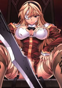 Rating: Questionable Score: 38 Tags: bandages cdpa cleavage freezing kim_kwang-hyun nopan satellizer_el_bridget thighhighs torn_clothes weapon User: kaitoucoon