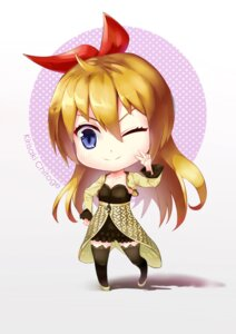 Rating: Safe Score: 9 Tags: chen_ghh chibi dress heels kirisaki_chitoge nisekoi thighhighs User: mash
