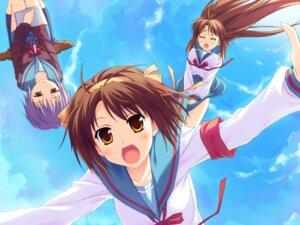 Rating: Safe Score: 13 Tags: asahina_mikuru hinata_nao nagato_yuki seifuku suzumiya_haruhi suzumiya_haruhi_no_yuuutsu wallpaper User: charunetra