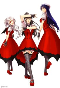 Rating: Safe Score: 44 Tags: aken albedo_(overlord) cosplay crossover dress horns narberal_gamma overlord shalltear_bloodfallen stockings the_idolm@ster thighhighs wings User: charunetra