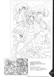 Rating: Safe Score: 5 Tags: line_art monochrome paper_texture riv seifuku sketch soloist sword User: blooregardo